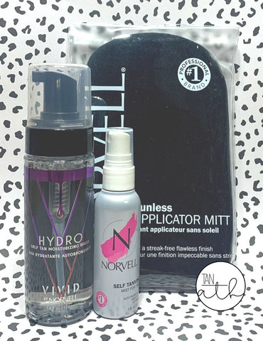 NORVELL HYDRO SELF TAN MOISTURIZING WATER W/ FACE MIST KIT - FREE MITT!