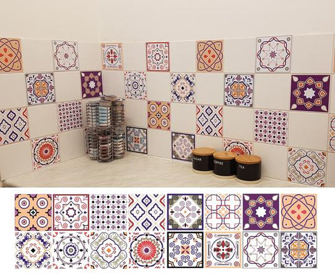 a minimalist kitchen with peach mosaic tile stickers by Bolsover Designs