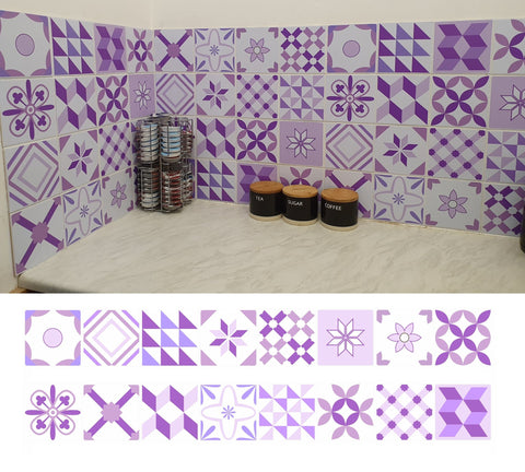 a modern kitchen featuring purple mosaic tile stickers from Bolsover Designs
