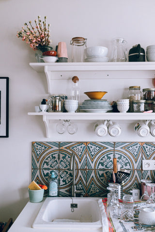 Kitchen with wall tile stickers