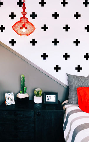 an eye-catching bedroom with dynamic wall art stickers