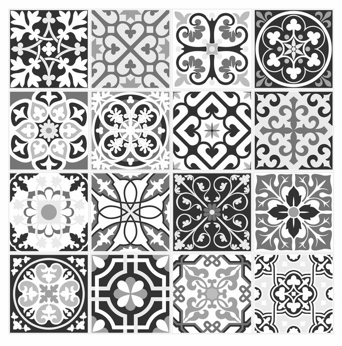 8 Inch Tiles G08 Mosaic Tile Stickers Transfers GREY Azulejo for 200mm x 200mm