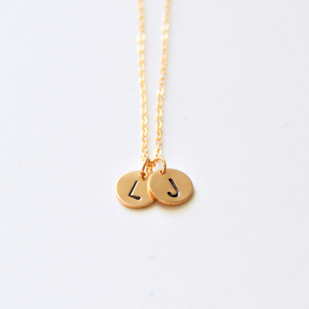 Initial Disk Necklace | 14KGF Gold