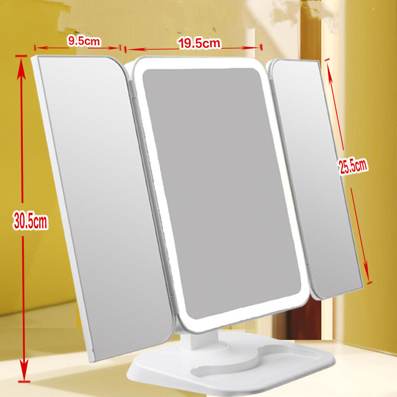 Trifold Makeup Mirror With LED  Light