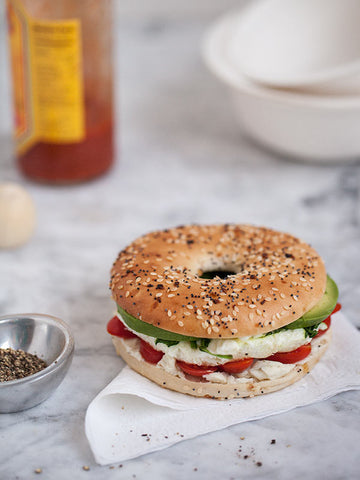 Bagel and Veggie Breakfast Sandwich