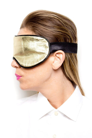 Metallic Gold Leather Sleep Mask
