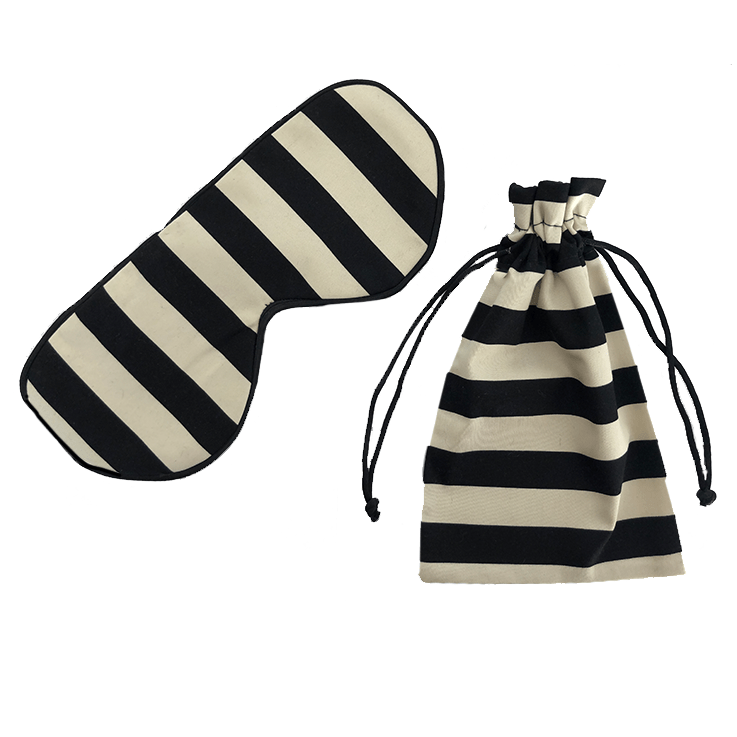 Black and White Stripe Silk Sleep Mask and matching travel bag