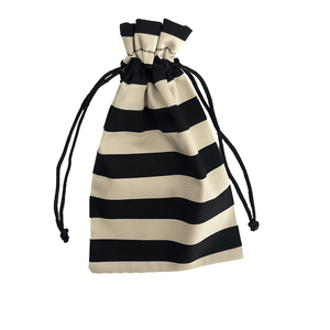 Black and White Stripe Silk Sleep Mask Travel Bag