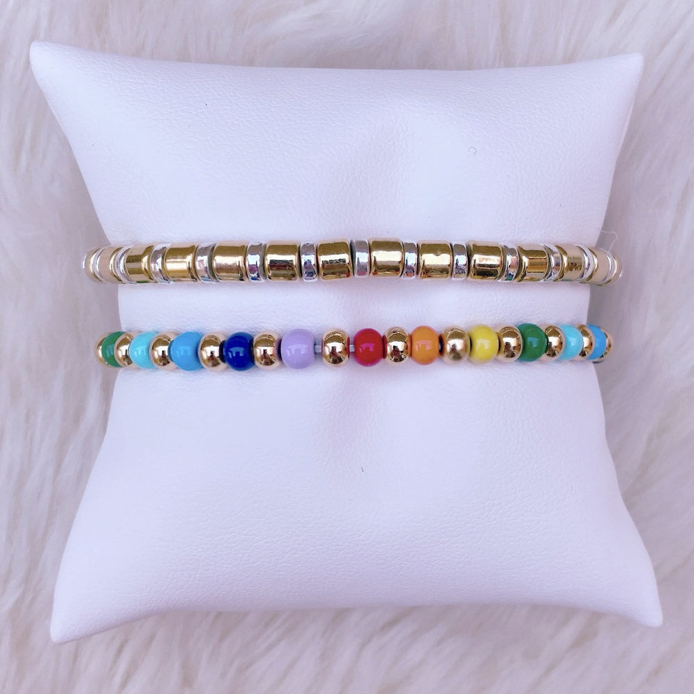 Gold and Rainbow Candy Bracelets