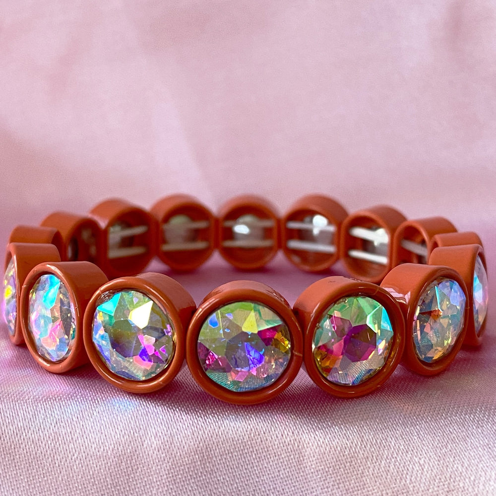Orange Gem Stretchy Bracelet Set of Three