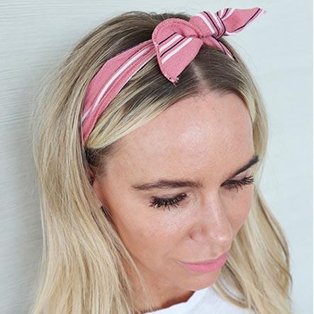 Pink and White Stripe Wire Headwrap