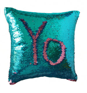 Aqua & Magenta Pink Sequin Magic Pillow