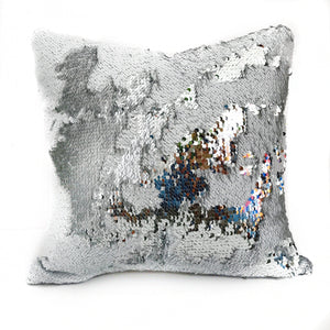 White & Silver Sequin Magic Pillow