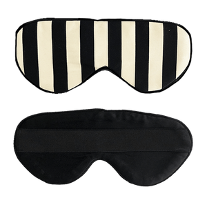 Black and White Stripe Silk Sleep Mask