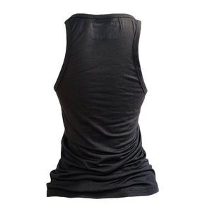 High Neck Racerback Tank Top-Black