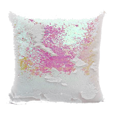 White & Baby Pink Sequin Magic Pillow