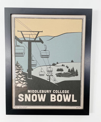 Middlebury Snow Bowl illustration with chairlift and mountains