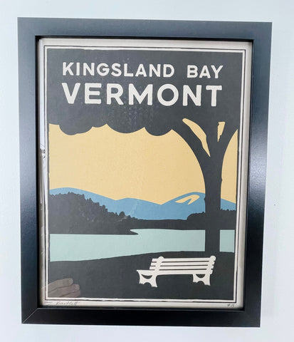 Kingsland Bay illustration with tree and bench