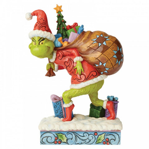 Tip Toeing Grinch with Bag of Gifts Over Shoulder PRE ORDER