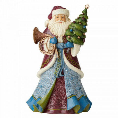 Santa Holding Tree and Horn Figurine