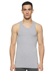 Underjeans Grey Cotton Lycra Vest (Round Neck)