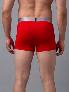 Underjeans Red Cotton Blend Trunks