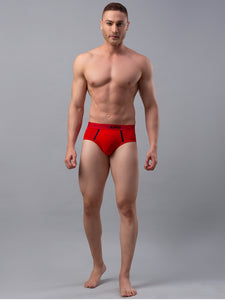 Underjeans Red Cotton Blend Briefs