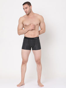 Underjeans Black-Check Cotton Trunks Pack of 2