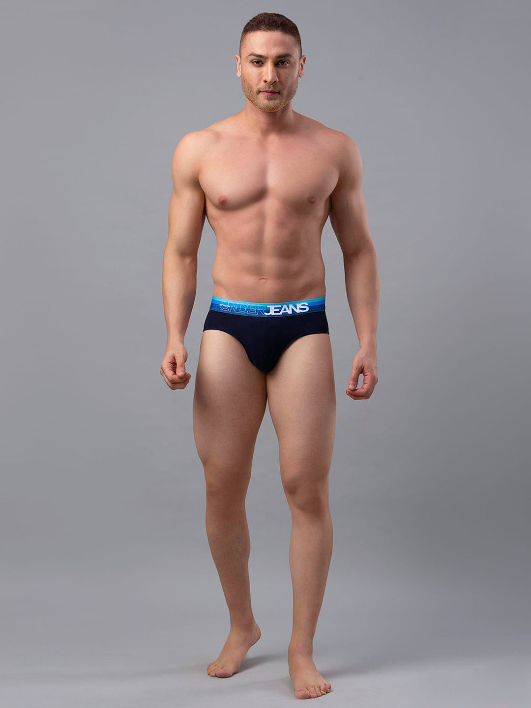 Underjeans Navy Cotton Brief - Pack of 2