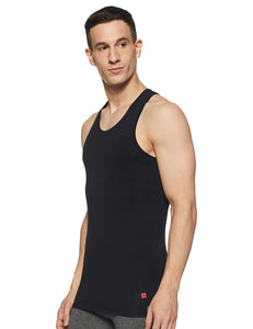 Underjeans Black Cotton Lycra Vest (Round Neck)