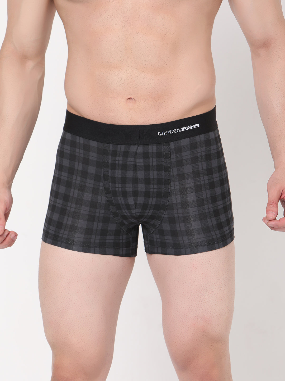 Underjeans Black-Check Cotton Trunks