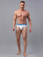Load image into Gallery viewer, Underjeans White-Blue Cotton Blend Briefs