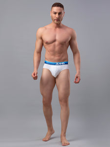 Underjeans White-Blue Cotton Blend Briefs