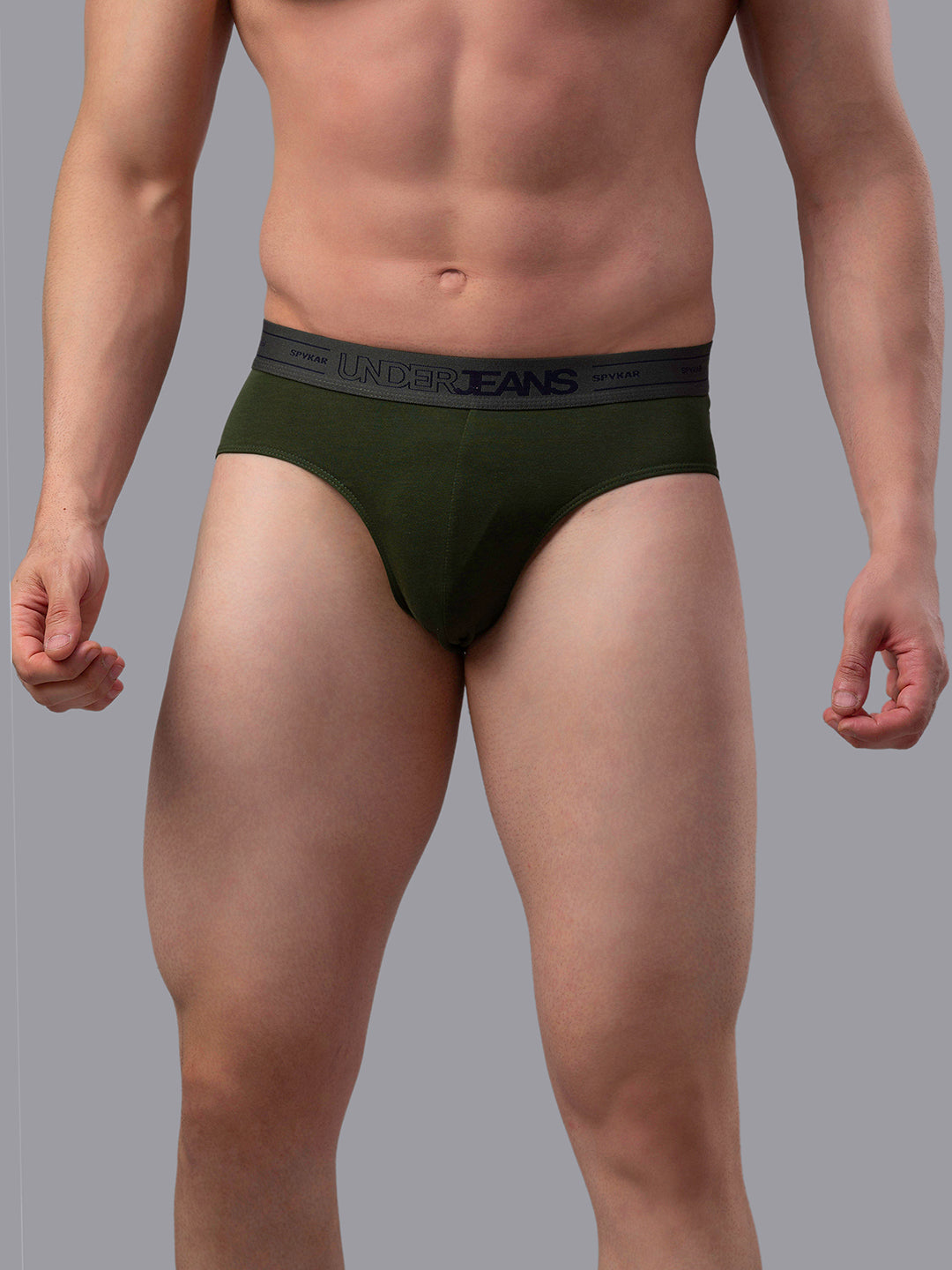 Underjeans Olive Cotton Brief - Pack of 2