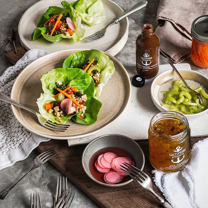 Spicy Tofu Lettuce Wraps with Pickled Vegetables