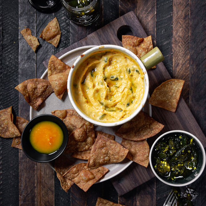 Sweet & Spicy Baked Queso w/ Easy Homemade Tortilla Chips