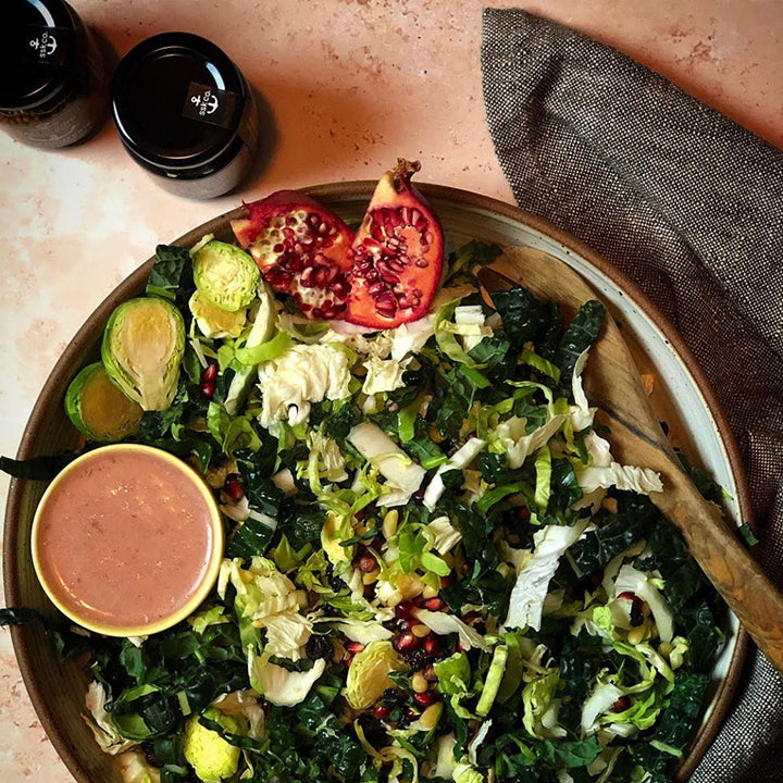 Brussels Sprout & Kale Salad with Tangy Cranberry Lemon Dressing