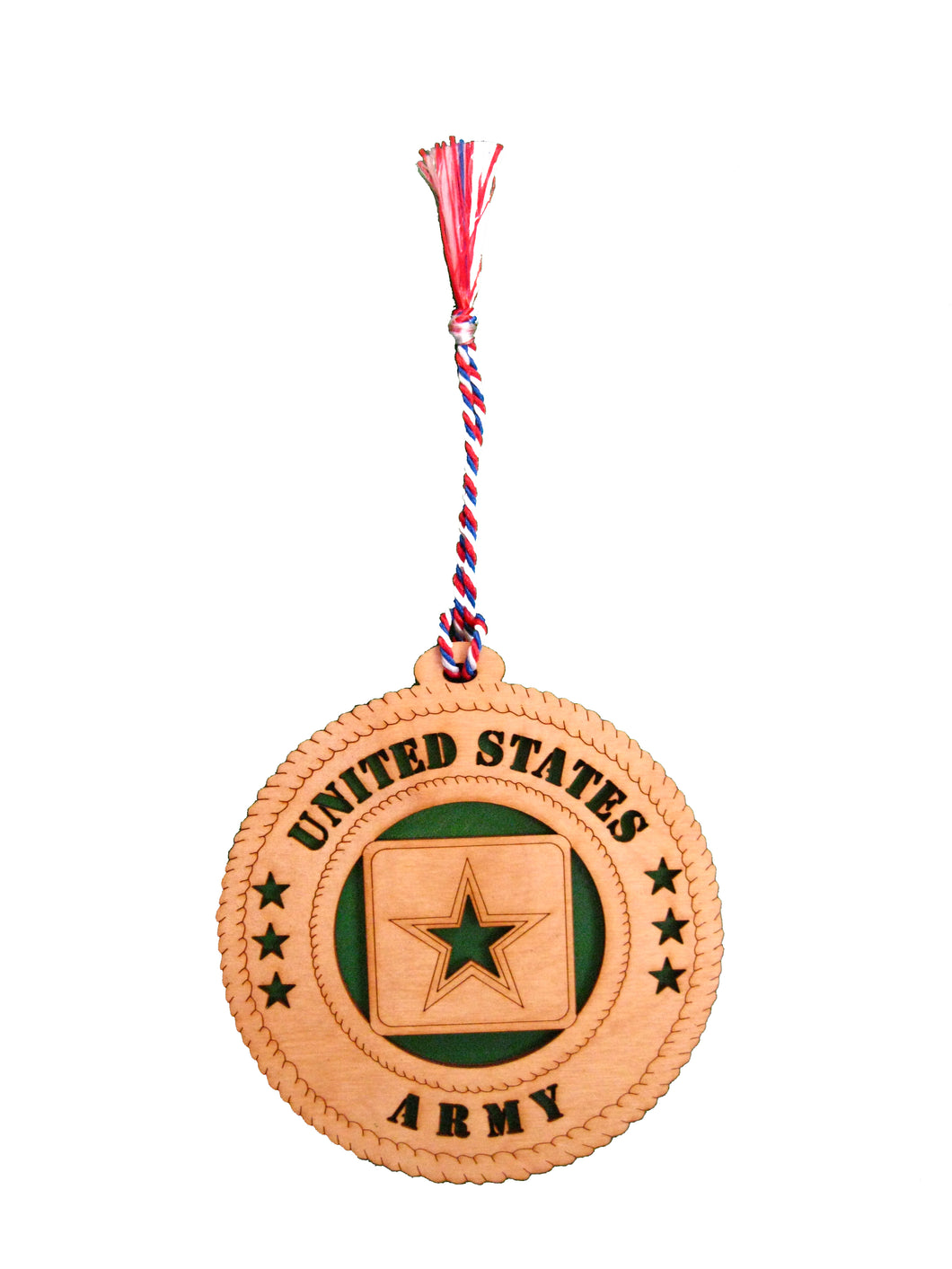 US ARMY STAR WOOD ORNAMENT