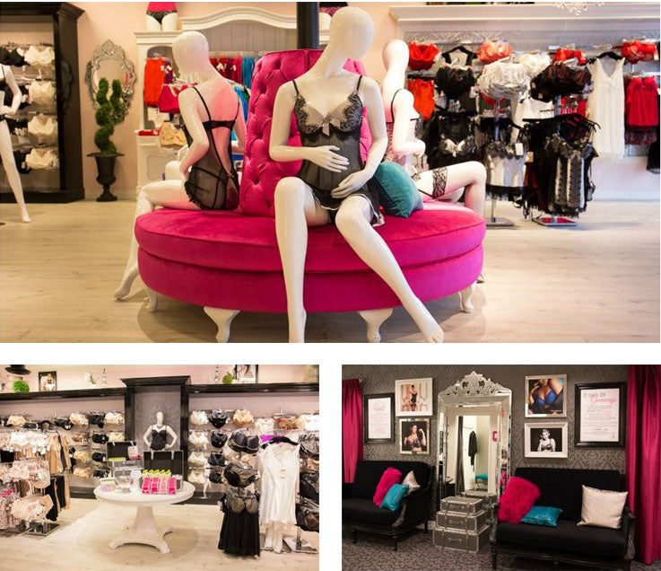 A collage of three photos. Photo one; three mannequins wearing lingerie sitting on a round pink couch. Photo two; the sales floor of Forever Yours Lingerie. Photo three; the couchs in the common area of the fitting rooms.