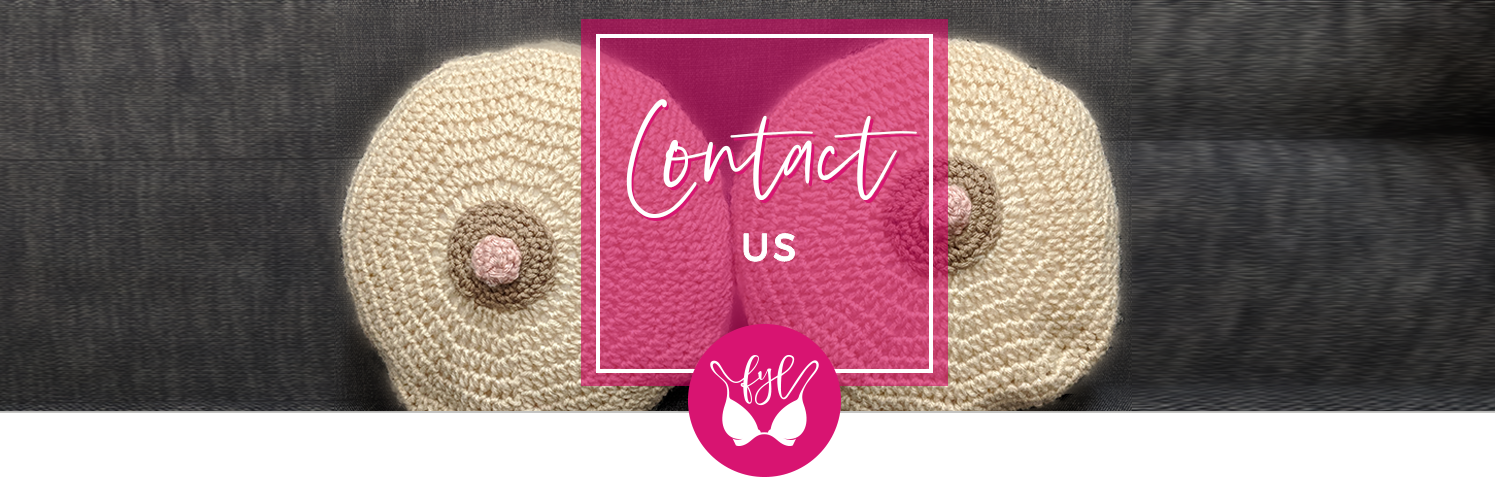Crochet boob pillows and text that says Contact Us