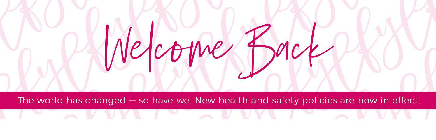 """Light pink FYL written in script on a white background. Over top, pink text that says """"welcome back"""""""