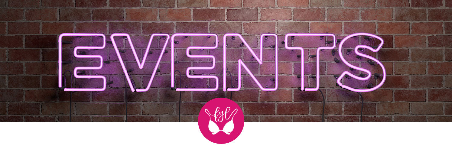 Neon pink sign that says Events on a brick wall