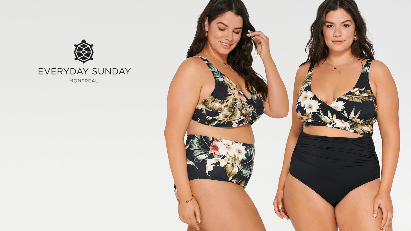 everyday sunday swimwear. two women wear a bikini and one piece swimsuit with a tropical floral print on a black base
