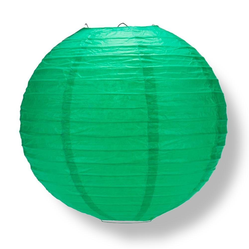Arcadia Teal Green Round Parallel Ribbing Paper Lanterns