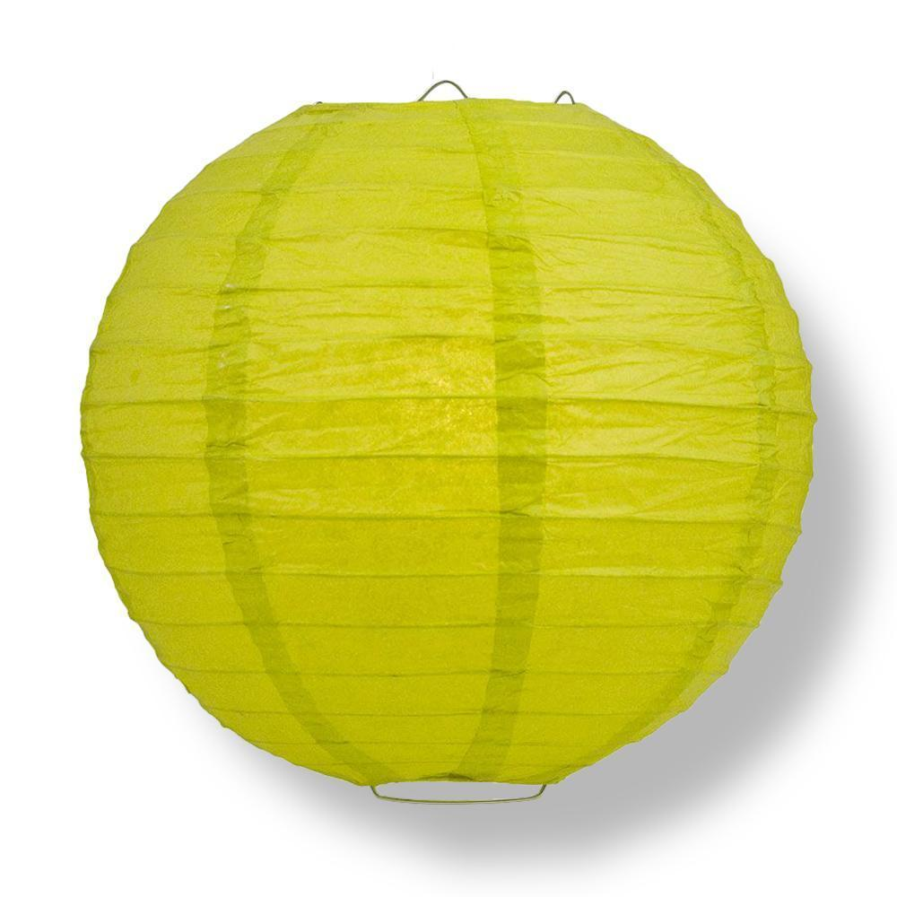 Chartreuse Round Parallel Ribbing Paper Lanterns