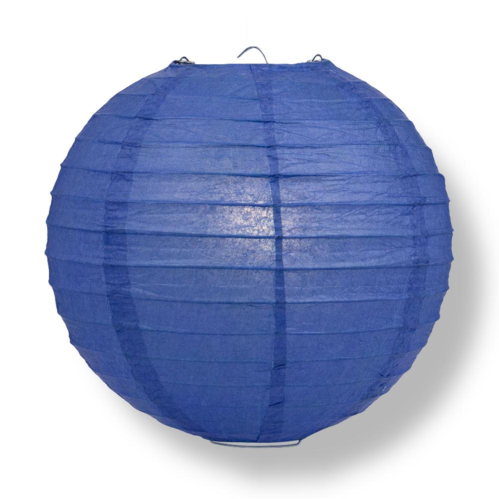 Dark Blue Round Parallel Ribbing Paper Lanterns