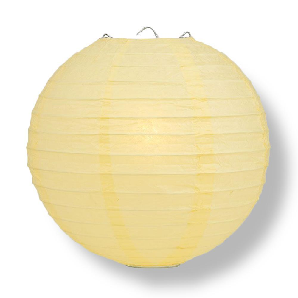 Lemon Yellow Chiffon Round Parallel Ribbing Paper Lanterns