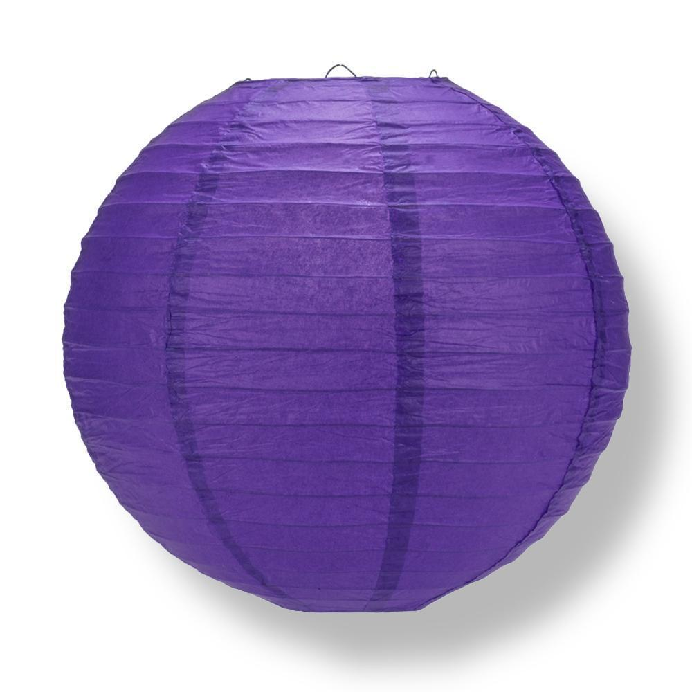 Plum Purple Round Parallel Ribbing Paper Lanterns