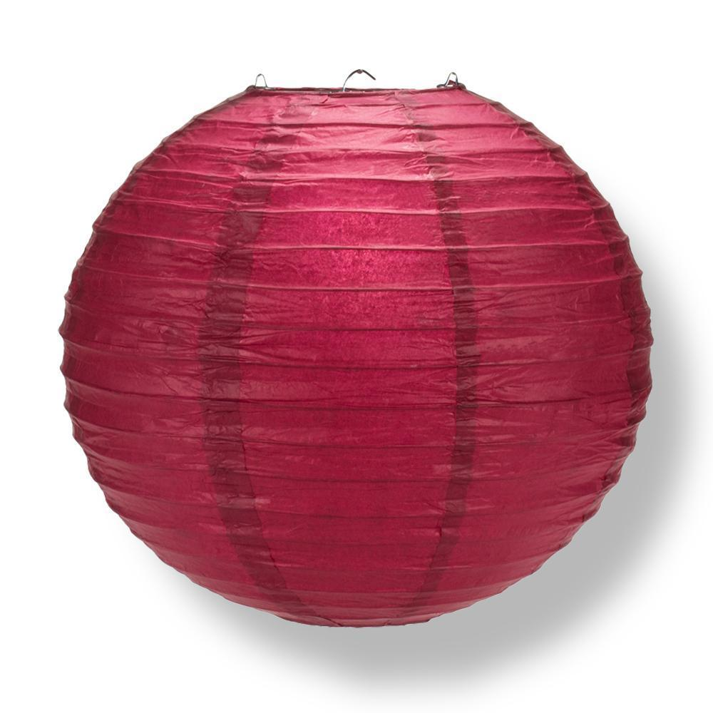 Velvet Rose Red Round Parallel Ribbing Paper Lanterns