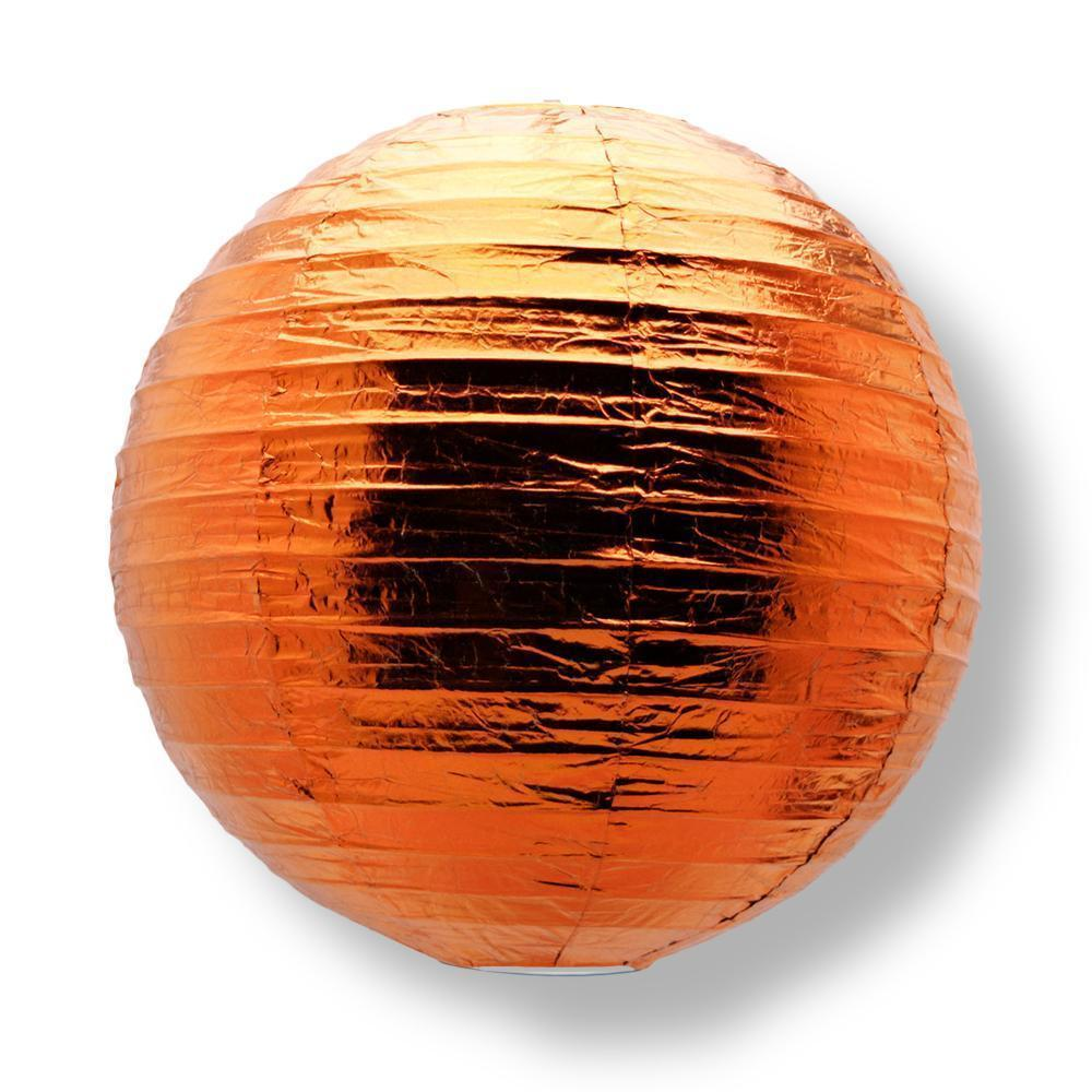Copper Round-shape Parallel Ribbing Paper Lanterns